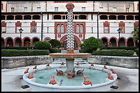 Frog fountain in the courtyard at Flagler College. St Augustine, Florida, USA (color)
