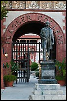Statue of Henry Flagler and entrance to Flagler College. St Augustine, Florida, USA (color)