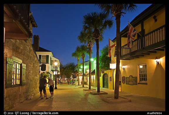 Historic street with palm trees and old buidlings. St Augustine, Florida, USA (color)