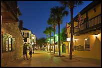 Historic street with palm trees and old buidlings. St Augustine, Florida, USA