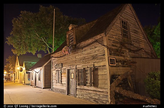 Oldest school house and street by night. St Augustine, Florida, USA (color)