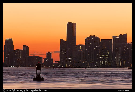 Skyline at sunset, Miami. Florida, USA (color)