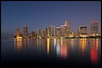Downtown skyline at night, Miami. Florida, USA ( color)