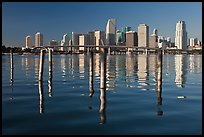 Bridge, pillings, and downtown skyline, Miami. Florida, USA ( color)