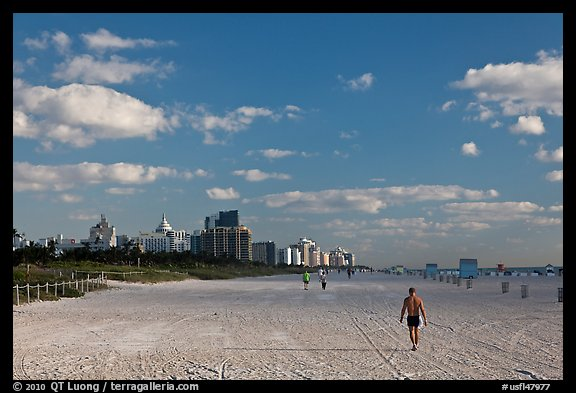 People strolling on South Beach, Miami Beach. Florida, USA (color)
