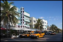 Taxi cabs and row of hotels in art deco architecture, Miami Beach. Florida, USA ( color)