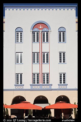 Art Deco hotel facade, Miami Beach. Florida, USA (color)