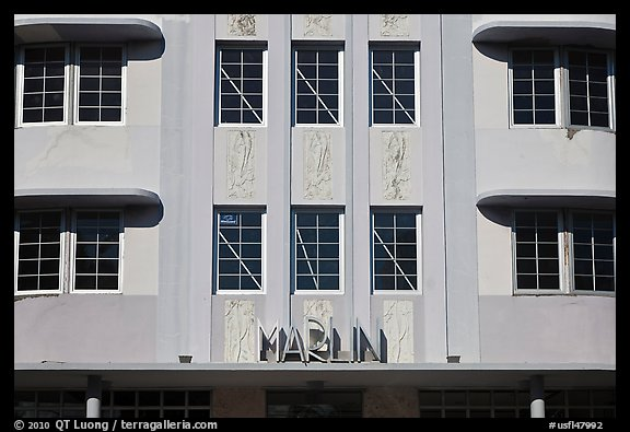 Detail of Art Deco Facade, Miami Beach. Florida, USA (color)
