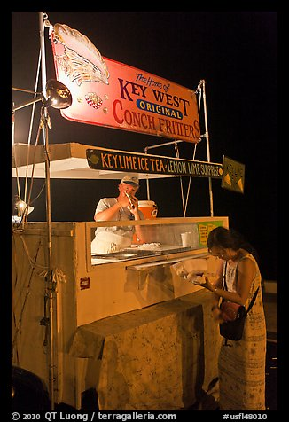 Food stall selling conch fritters on Mallory Square. Key West, Florida, USA (color)
