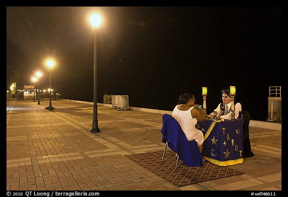 Fortune teller at night, Mallory Square. Key West, Florida, USA (color)