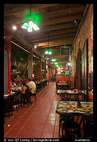 Cuban restaurant at night, Mallory Square. Key West, Florida, USA (color)