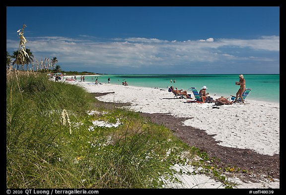 Beachgoers, Sandspur Beach, Bahia Honda State Park. The Keys, Florida, USA (color)