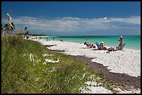 Beachgoers, Sandspur Beach, Bahia Honda State Park. The Keys, Florida, USA ( color)