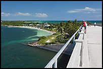 Tourists observing view from old bridge, Bahia Honda Key. The Keys, Florida, USA