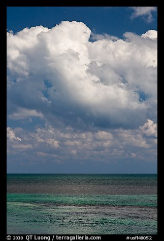 Atlantic ocean views with afternoon clouds, Matacumbe Key. The Keys, Florida, USA (color)