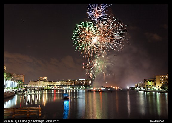 Fireworks over Davis Island, Tampa. Florida, USA (color)