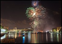 Fireworks over Davis Island, Tampa. Florida, USA ( color)
