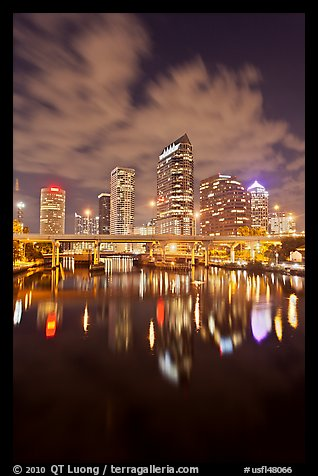Downtown Tampa skyline at night, Tampa. Florida, USA (color)