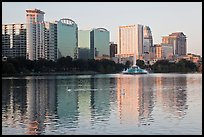 High rise buildings and fountain, lake Eola. Orlando, Florida, USA ( color)