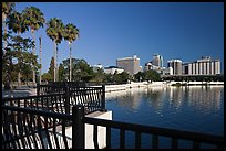 Lake Lucerne, palm trees, and downtown skyline. Orlando, Florida, USA (color)