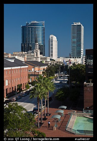 Modern and historic buildings in downtown. Orlando, Florida, USA (color)