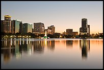 Downtown skyline at sunset, lake Eola. Orlando, Florida, USA ( color)