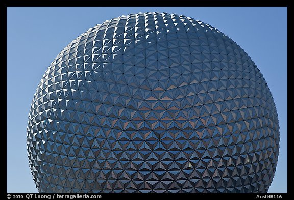 18-story geodesic sphere, Epcot theme park. Orlando, Florida, USA (color)
