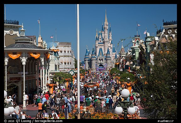 Gateway to Fantasyland and Main Street, Magic Kingdom. Orlando, Florida, USA (color)