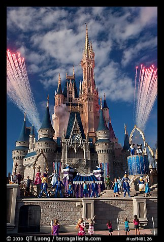 Daytime fireworks and stage show, Cindarella castle. Orlando, Florida, USA (color)