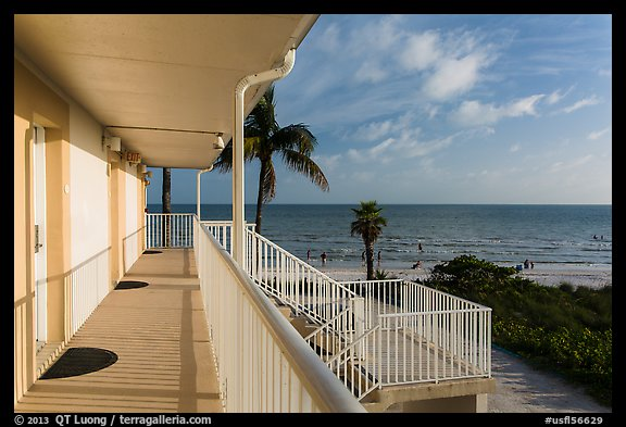 Beachfront resort and ocean, Sanibel Island. Florida, USA (color)