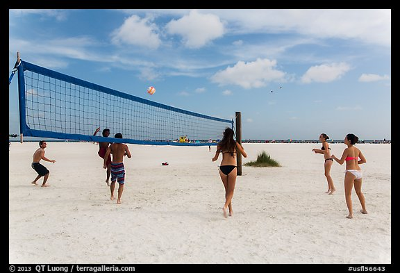 Volleyball at Siesta Beach, Sarasota. Florida, USA (color)