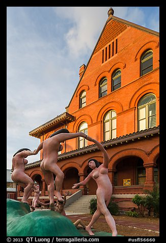 Modern sculpture in front of Custom House. Key West, Florida, USA (color)