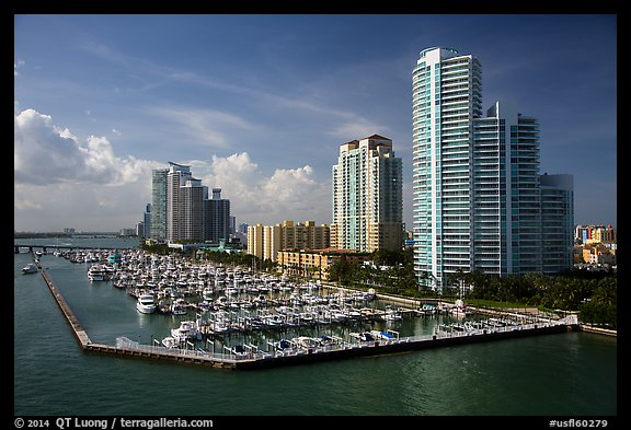 Miami Beach marina and high-rises. Florida, USA (color)