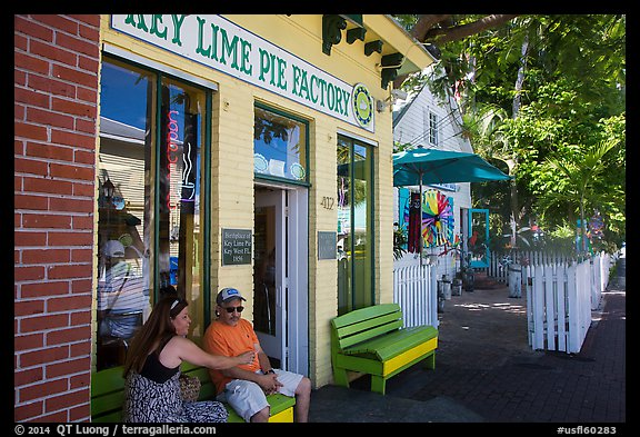 Key Line Pie Factory with customers. Key West, Florida, USA (color)