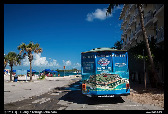 Truck with ad for Dry Tortugas tour. Key West, Florida, USA (color)