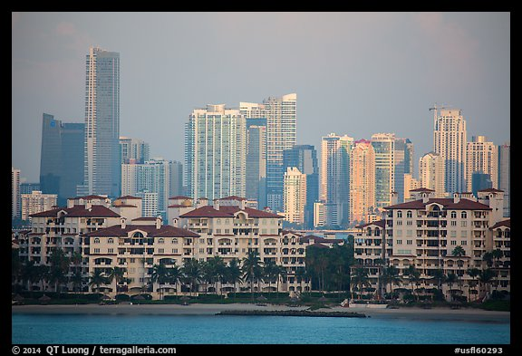Miami Waterfront and high-rises at sunrise. Florida, USA (color)