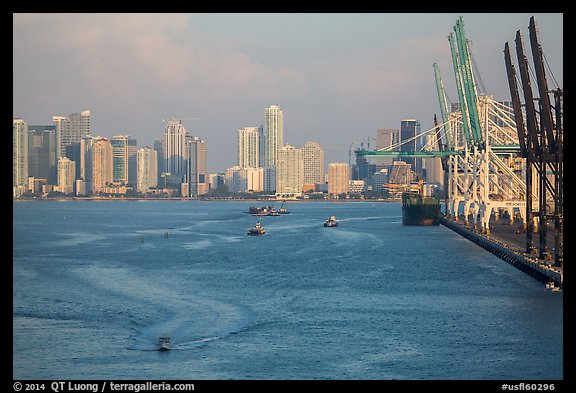 Miami harbor and skyline at sunrise. Florida, USA (color)