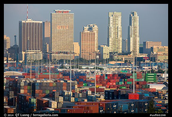 Shipping containers and skyline. Florida, USA (color)