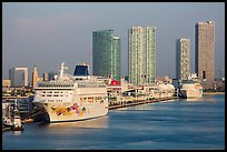Cruise ship terminal and skyline, Port of Miami. Florida, USA ( color)