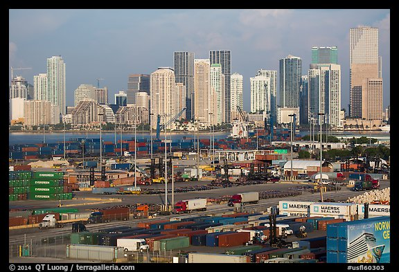 Freight harbor and skyline. Florida, USA (color)