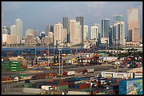 Miami Freight harbor and skyline. Florida, USA ( color)