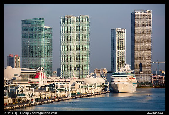 Cruise ship terminal and high rise buildings. Florida, USA (color)