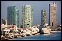 Cruise ship terminal and high rise buildings, Miami. Florida, USA ( color)