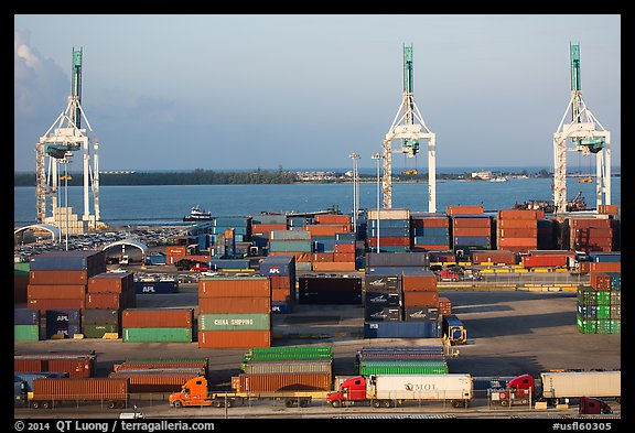 Miami Port with trucks, containers and cranes. Florida, USA (color)