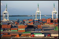 Miami Port with trucks, containers and cranes. Florida, USA ( color)