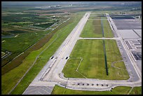Aerial view of Homestead air force airport with fighter jets parked. Florida, USA ( color)