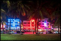 Palm trees and row of Art Deco hotels at night, Miami Beach. Florida, USA ( color)