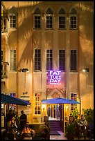 Hotel facade at night, South Beach District, Miami Beach. Florida, USA ( color)