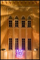 Detail of Art Deco facade with shadow of palm tree at night, Miami Beach. Florida, USA ( color)