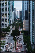 Brickell Avenue from above, Miami. Florida, USA ( color)